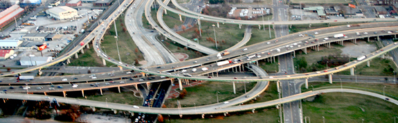 Northern terminus of the Red Mountain Expressway at I-20/59 downtown. Photographed December 13, 2007 by David Smith