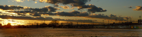 Sunset at the site of the future Railroad Reservation Park. January 1, 2008