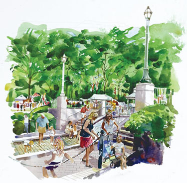 Watercolor by Bob Moody for the 1980s renovation of Linn Park
