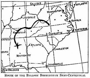 Route of the winning balloon