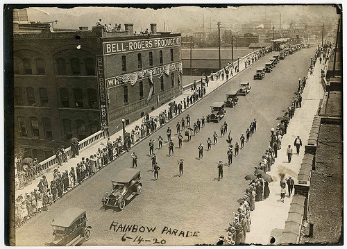 A 1920 parade over the year-old viaduct honors veterans of the 167th Infantry