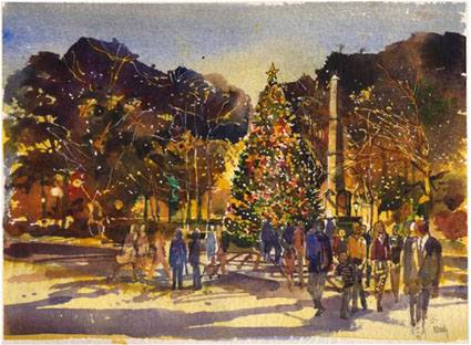 Watercolor rendering of the Linn Park Christmas tree by artist Bob Moody (link)