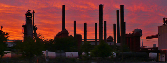 Sloss Furnaces at sunset, May 2008