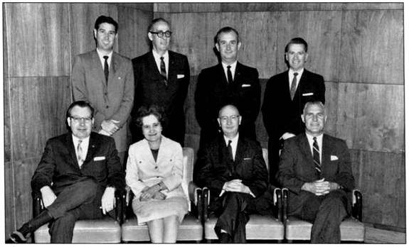 Members of the Birmingham City Council in 1963: 1st row, (L-R) E. C. Overton, Nina Miglionico, M. Edwin Wiggins, George Seibels. 2nd row, (L-R) Alan Drennen, Tom Woods, Don Hawkins, John Golden. Not pictured: John Bryan