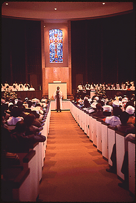 Interior of 6th Avenue Baptist Church in 1972