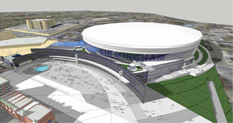 2010 rendering of the domed stadium by Populous