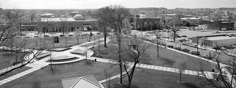 Birds-eye view of Kelly Ingram Park in Spring, 1993 by HABS photographer Jet Lowe