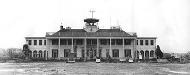 The airport terminal as it appeared in February 1947. Photograph by Charles Preston. courtesy BPL Archives