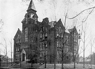 The Powell School as it appeared in 1908, with tower