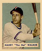 "Harry ""The Hat"" Walker's 1949 Bowman baseball card"