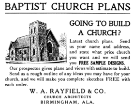 1919 advertisement for Rayfield's church designs