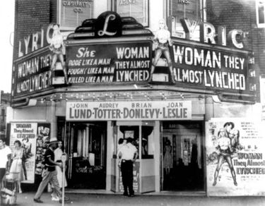 The Lyric's marquee in 1953