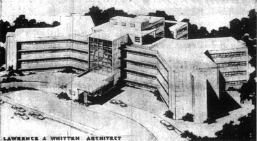 Architect's rendering of the West End unit, constructed in 1951