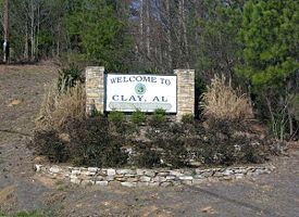 Welcome sign to Clay