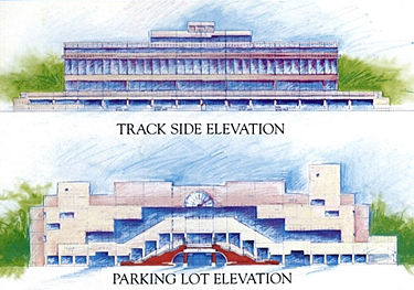 Architect's renderings of the Turf Club grandstand and clubhouse building