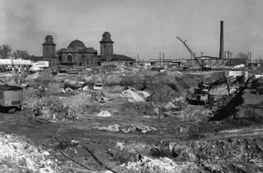 The Terminal Station in the background of a December 9, 1968 photo of site work at the new Birmingham Post Office.
