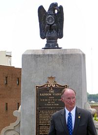 Gov. Robert Bentley after the unveiling of the new eagle statues on Memorial Day, 2012
