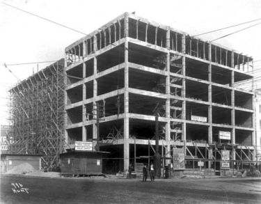 The theatre's office building under construction in 1912. Photo by O. V. Hunt courtesy BPL Archives