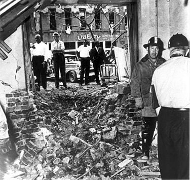 Firemen at the scene of the bombing, courtesy BPL Archives