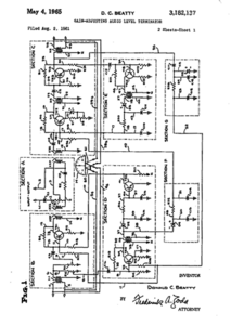 1965 patent drawing for the Gain-Adjusting Audio Level Terminator