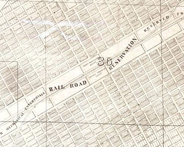 Portion of an 1880 map showing Birmingham's planned grid of streets