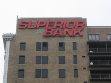 Superior Bank sign on the John A. Hand Building, April 2009