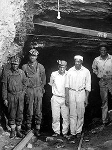 Workers at the entrance to the Banner Mine