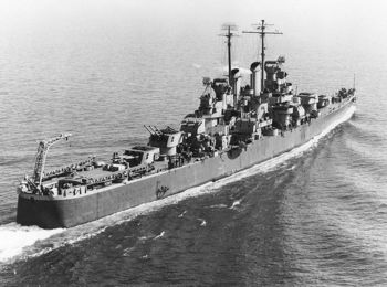 The USS Birmingham (CL-62) underway on February 20, 1943