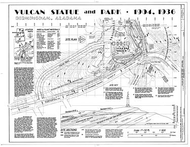 Plan of Vulcan Park in the Historic American Engineering Record