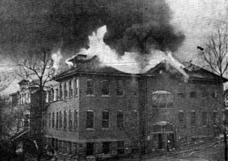 Birmingham Post photo of the school in flames. courtesy BPL Archives