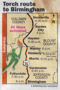 Map of Olympic Torch route through Jefferson, Blount, and Cullman counties in 1996.jpg