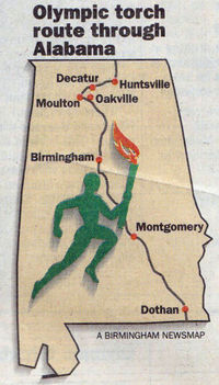 Map of Olympic Torch route through Alabama in 1996.jpg