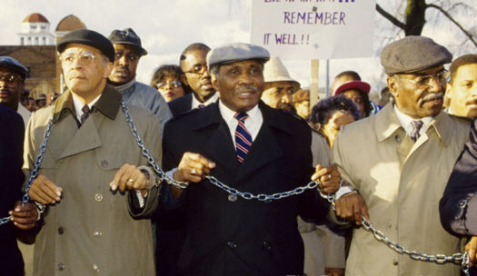 1992 Solidarity March for Richard Arrington, Jr with Abraham Woods, Jr and Fred Shuttlesworth.