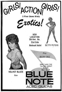 Ad for the Blue Note nightclub in the Redmont