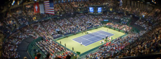 View of the arena from the upper level during the 2009 Davis Cup first round tie. Photograph by Kevin Stephenson