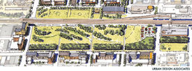 Schematic view of the Railroad Reservation Park in the City Center Master Plan