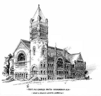 1890 architects' rendering of First Methodist