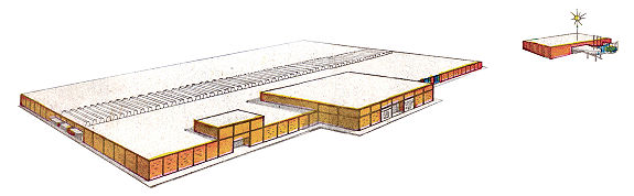 Exterior rendering of Eastwood Mall in 1960, with Eastwood Lanes on right