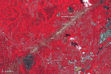 False-color satellite image from May 4 showing the track of the Tuscaloosa/Birmingham tornado