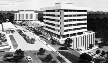 Architect's rendering of the hospital and professional building (right) from a 1968 advertisement