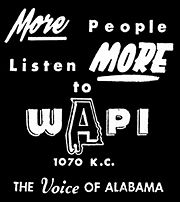 1957 ad for WAPI-AM
