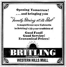Ad for Britling's Western Hills Mall location