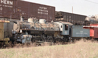 A historic locomotive on the Powell Avenue site in 1984. Photo by Tim Carr