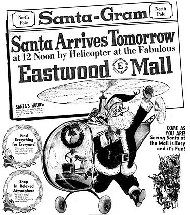 1962 advertisement for Santa's arrival by helicopter