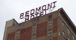 Redmont Hotel sign in 2007