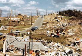 View of Smithfield after the tornado.