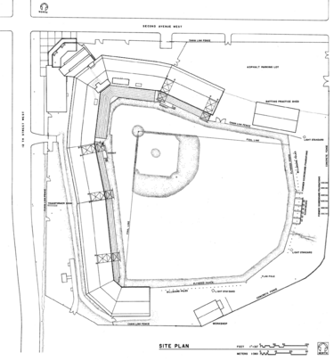 A plan of Rickwood Field (HABS 1993)
