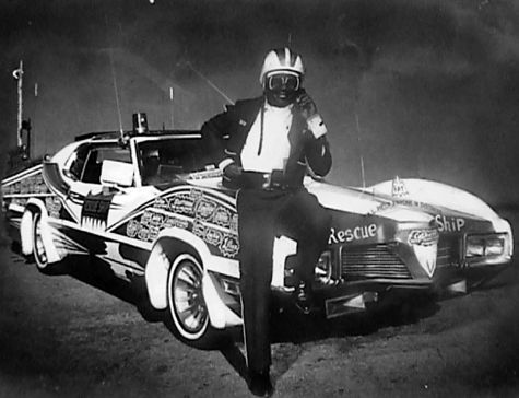 Willie Perry as Batman with his Batmobile Rescue Ship