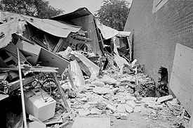 Bomb damage to the motel, May 11, 1963