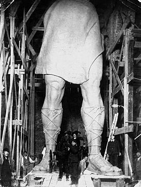 Full-size plaster casts for Vulcan at Moretti's studio in Passaic, New Jersey